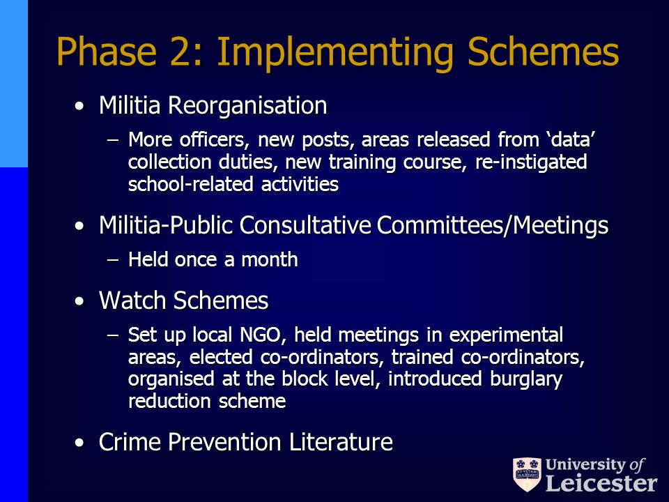 Phase 2: Implementing Schemes Militia ReorganisationMilitia Reorganisation –More officers, new posts, areas released from data collection duties, new