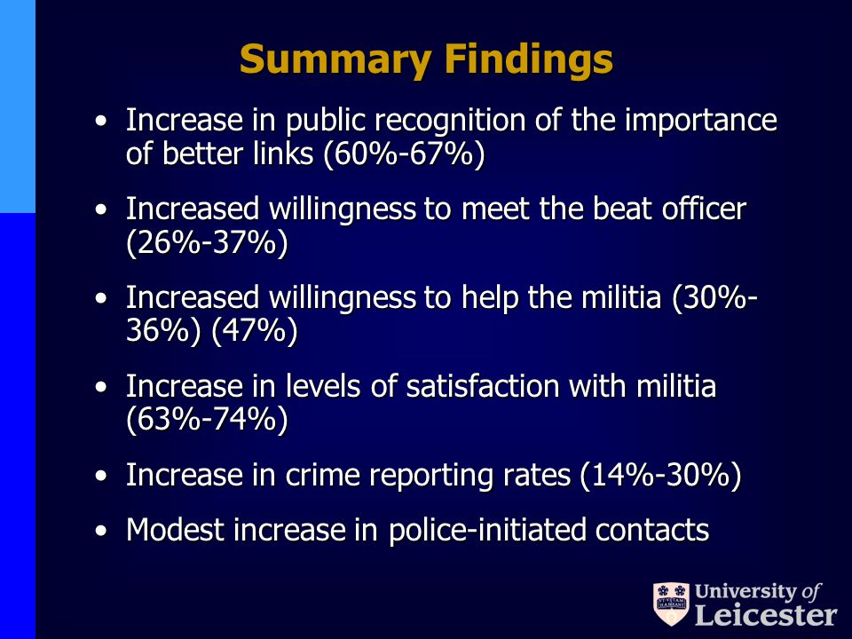 Summary Findings Increase in public recognition of the importance of better links (60%-67%)Increase in public recognition of the importance of better