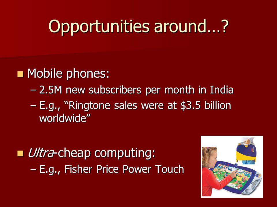 Opportunities around….