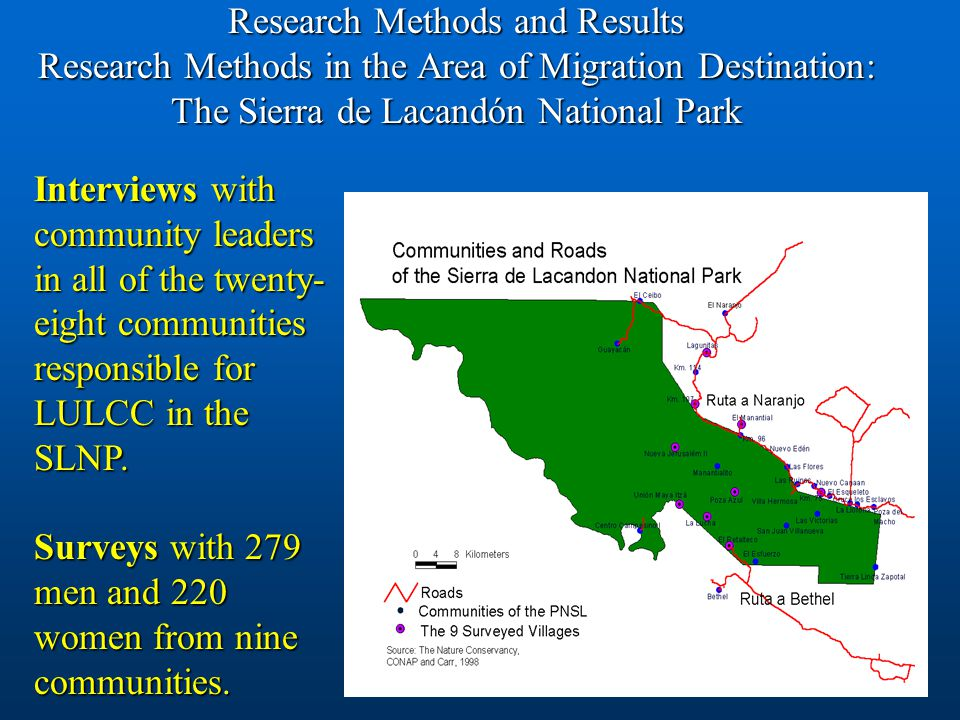 Interviews with community leaders in all of the twenty- eight communities responsible for LULCC in the SLNP. Surveys with 279 men and 220 women from n