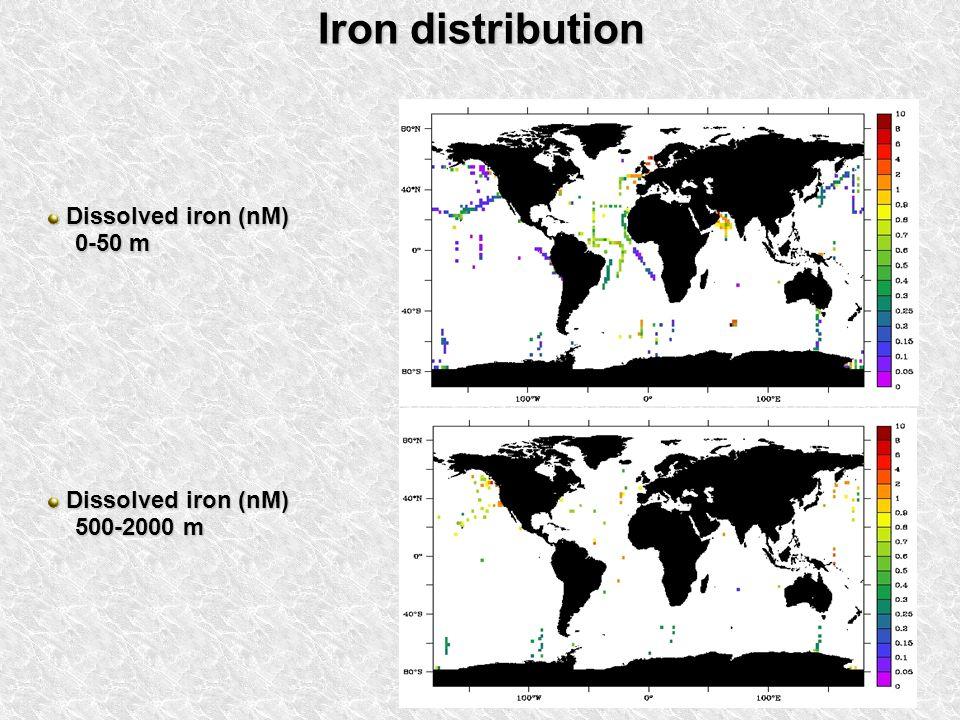 Iron distribution Dissolved iron (nM) Dissolved iron (nM) 0-50 m 0-50 m Dissolved iron (nM) Dissolved iron (nM) 500-2000 m 500-2000 m