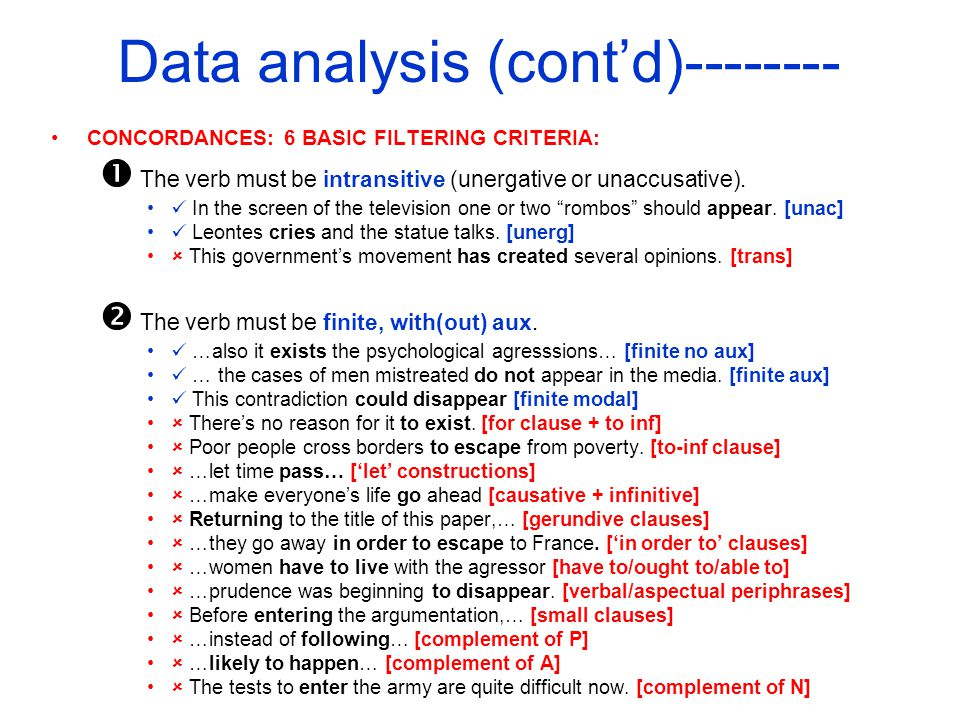 Data analysis (contd)-------- CONCORDANCES: 6 BASIC FILTERING CRITERIA: The verb must be intransitive (unergative or unaccusative).