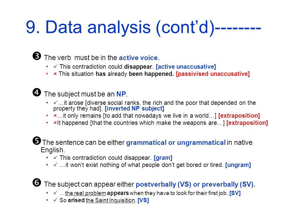 9. Data analysis (contd)-------- The verb must be in the active voice.