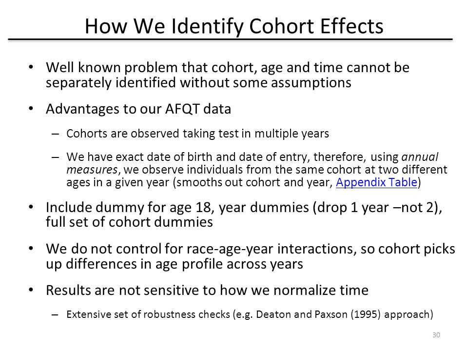 How We Identify Cohort Effects Well known problem that cohort, age and time cannot be separately identified without some assumptions Advantages to our AFQT data – Cohorts are observed taking test in multiple years – We have exact date of birth and date of entry, therefore, using annual measures, we observe individuals from the same cohort at two different ages in a given year (smooths out cohort and year, Appendix Table)Appendix Table Include dummy for age 18, year dummies (drop 1 year –not 2), full set of cohort dummies We do not control for race-age-year interactions, so cohort picks up differences in age profile across years Results are not sensitive to how we normalize time – Extensive set of robustness checks (e.g.