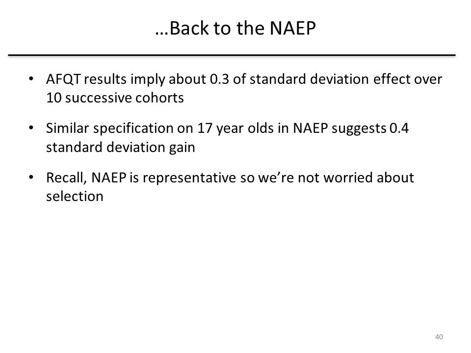 40 …Back to the NAEP 40 AFQT results imply about 0.3 of standard deviation effect over 10 successive cohorts Similar specification on 17 year olds in