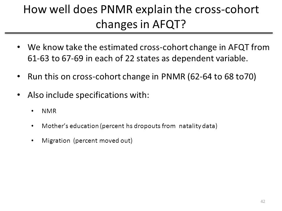How well does PNMR explain the cross-cohort changes in AFQT.