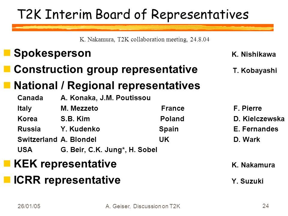 26/01/05A. Geiser, Discussion on T2K 24 T2K Interim Board of Representatives nSpokesperson K. Nishikawa nConstruction group representative T. Kobayash