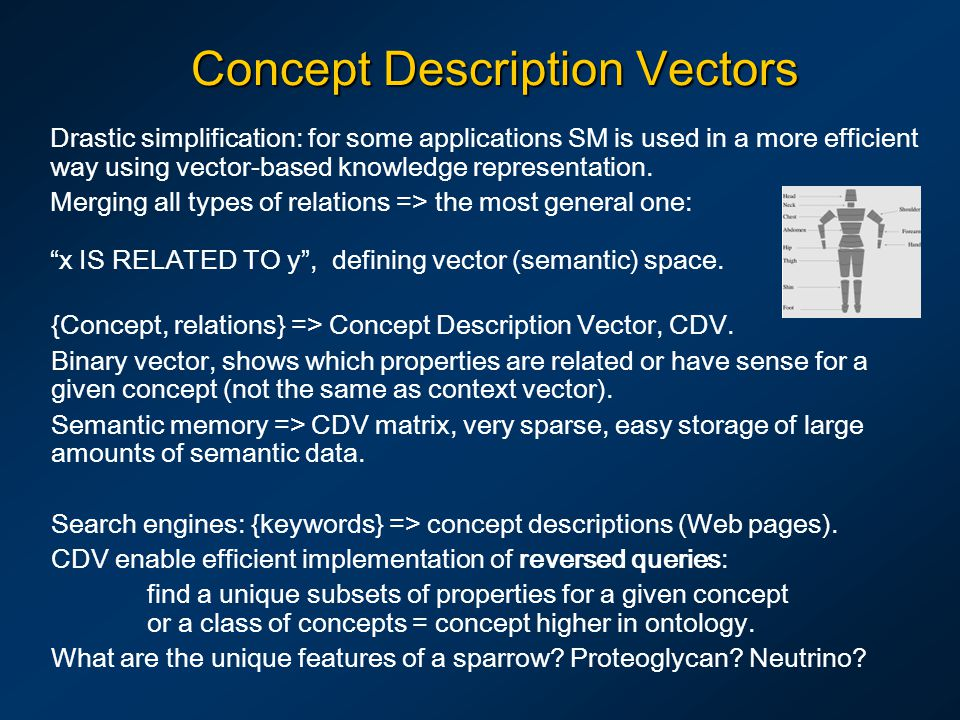 Concept Description Vectors Drastic simplification: for some applications SM is used in a more efficient way using vector-based knowledge representati