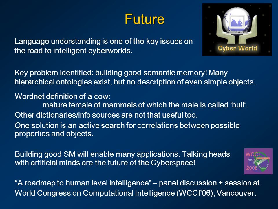 Future Language understanding is one of the key issues on the road to intelligent cyberworlds.