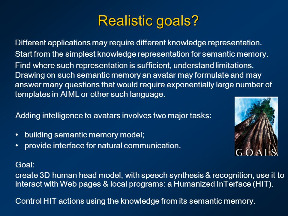 Realistic goals? Different applications may require different knowledge representation. Start from the simplest knowledge representation for semantic