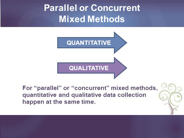 Parallel or Concurrent Mixed Methods For parallel or concurrent mixed methods, quantitative and qualitative data collection happen at the same time. Q
