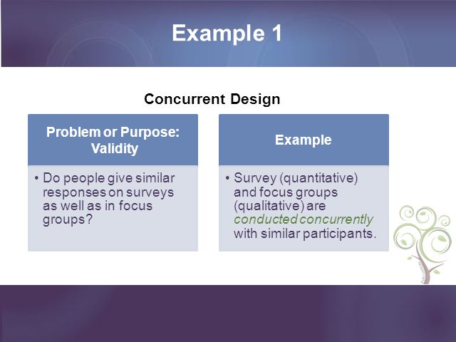 Example 1 Problem or Purpose: Validity Do people give similar responses on surveys as well as in focus groups? Example Survey (quantitative) and focus
