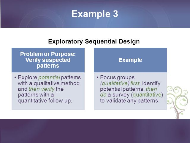 Example 3 Problem or Purpose: Verify suspected patterns Explore potential patterns with a qualitative method and then verify the patterns with a quant