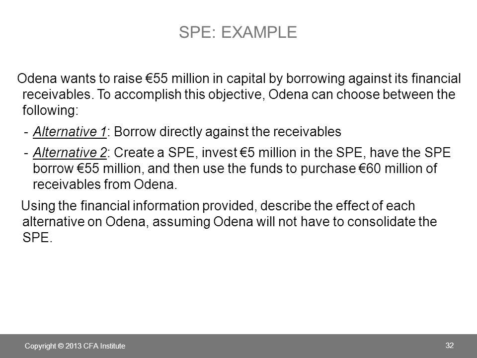 SPE: EXAMPLE Odena wants to raise 55 million in capital by borrowing against its financial receivables.