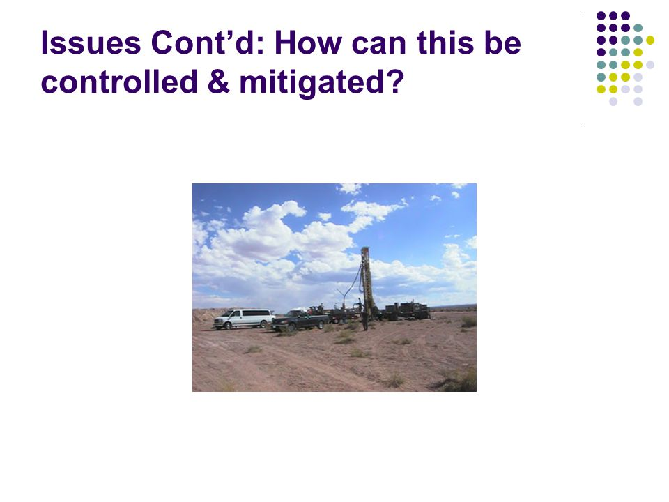 Issues Contd: How can this be controlled & mitigated?