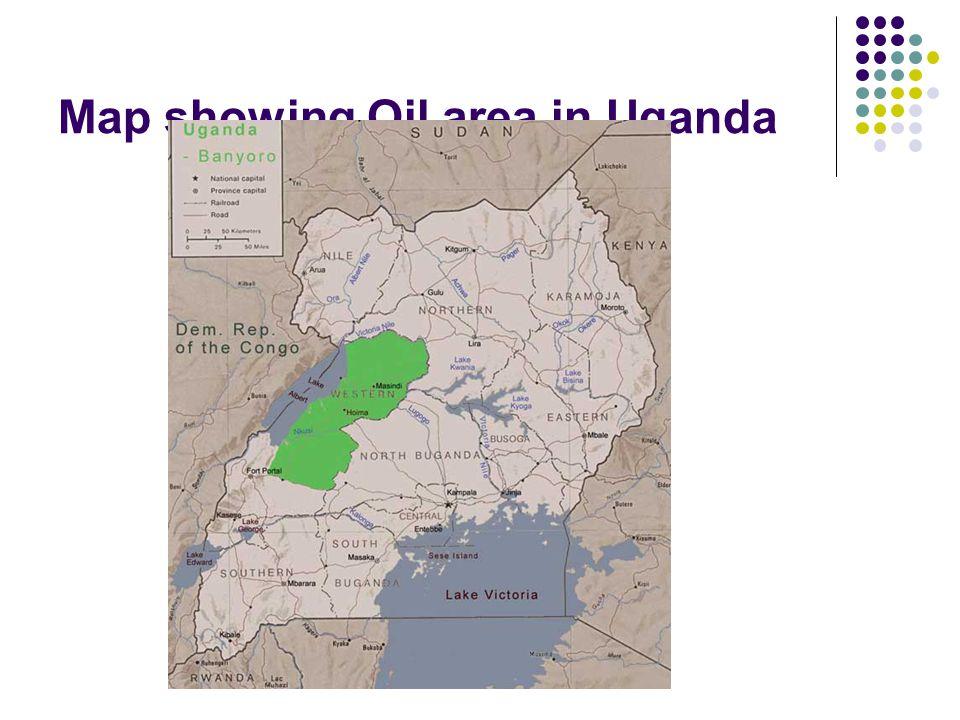 Map showing Oil area in Uganda