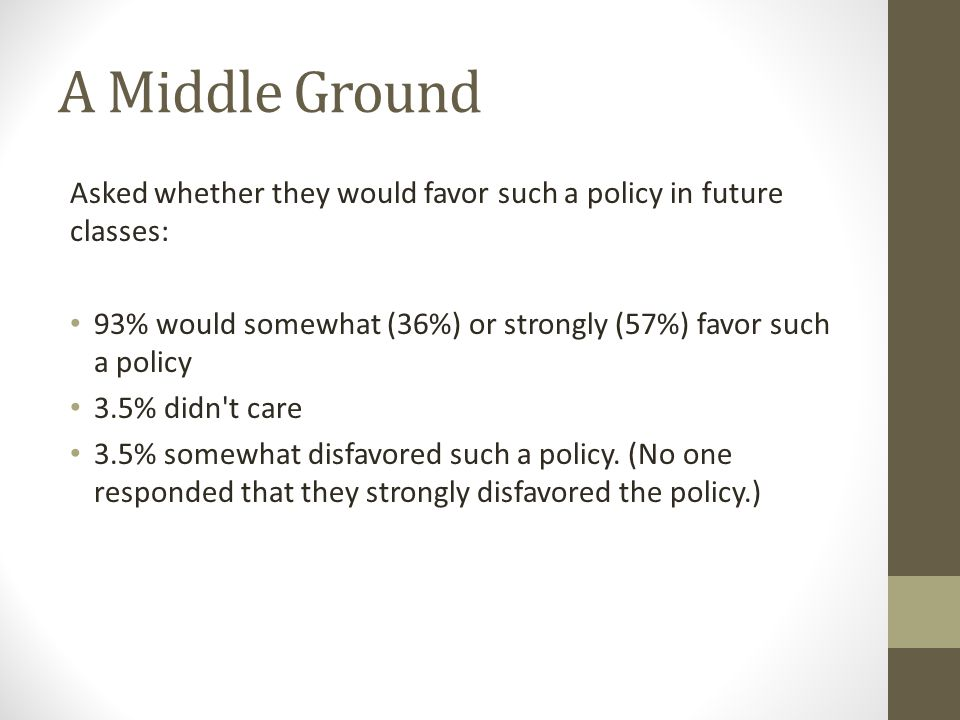 A Middle Ground Asked whether they would favor such a policy in future classes: 93% would somewhat (36%) or strongly (57%) favor such a policy 3.5% didn t care 3.5% somewhat disfavored such a policy.