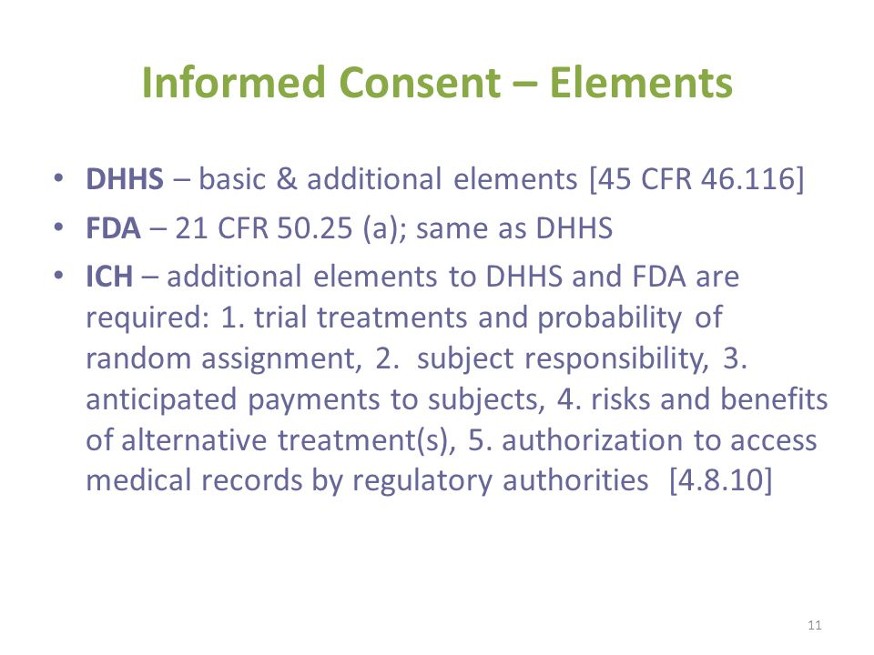 Informed Consent – Elements DHHS – basic & additional elements [45 CFR 46.116] FDA – 21 CFR 50.25 (a); same as DHHS ICH – additional elements to DHHS