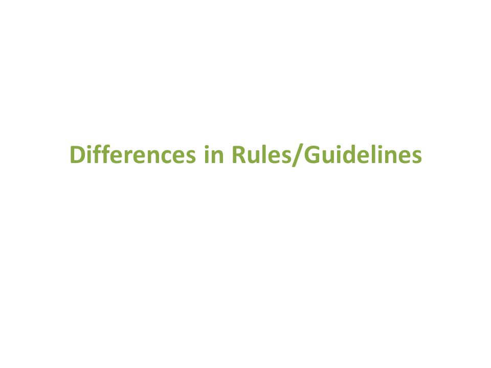 Differences in Rules/Guidelines