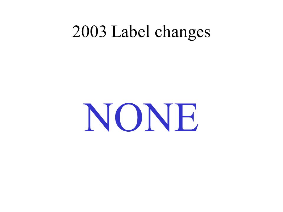 2003 Label changes NONE