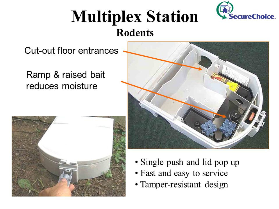 Cut-out floor entrances Ramp & raised bait reduces moisture Multiplex Station Rodents Single push and lid pop up Fast and easy to service Tamper-resis