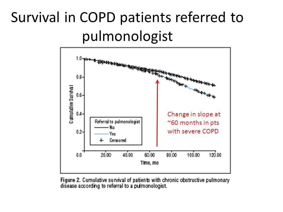 Change in slope at ~60 months in pts with severe COPD Survival in COPD patients referred to pulmonologist