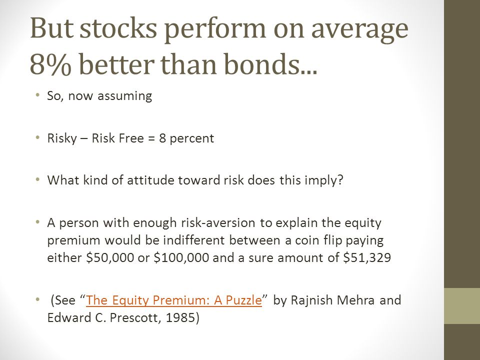 But stocks perform on average 8% better than bonds... So, now assuming Risky – Risk Free = 8 percent What kind of attitude toward risk does this imply