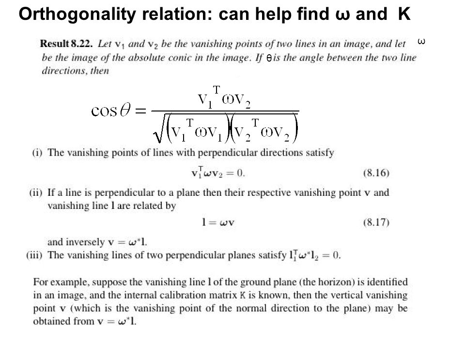Orthogonality relation: can help find ω and K ω θ