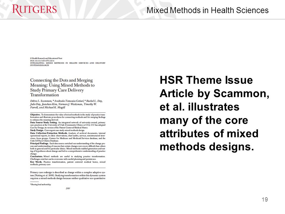 Mixed Methods in Health Sciences HSR Theme Issue Article by Scammon, et al.