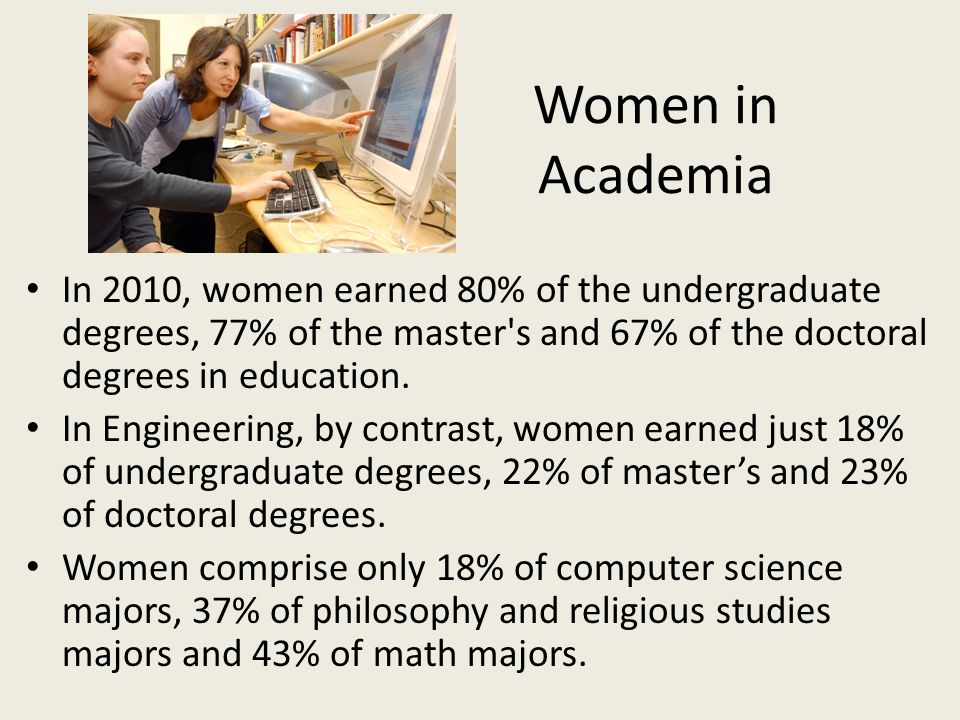Women in Academia In 2010, women earned 80% of the undergraduate degrees, 77% of the master s and 67% of the doctoral degrees in education.
