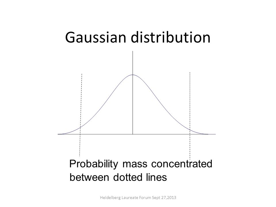 Gaussian distribution Probability mass concentrated between dotted lines Heidelberg Laureate Forum Sept 27,2013