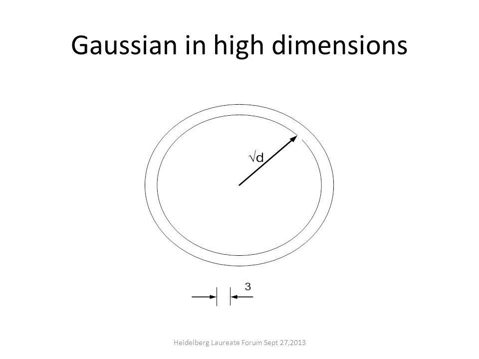 Gaussian in high dimensions Heidelberg Laureate Forum Sept 27,2013