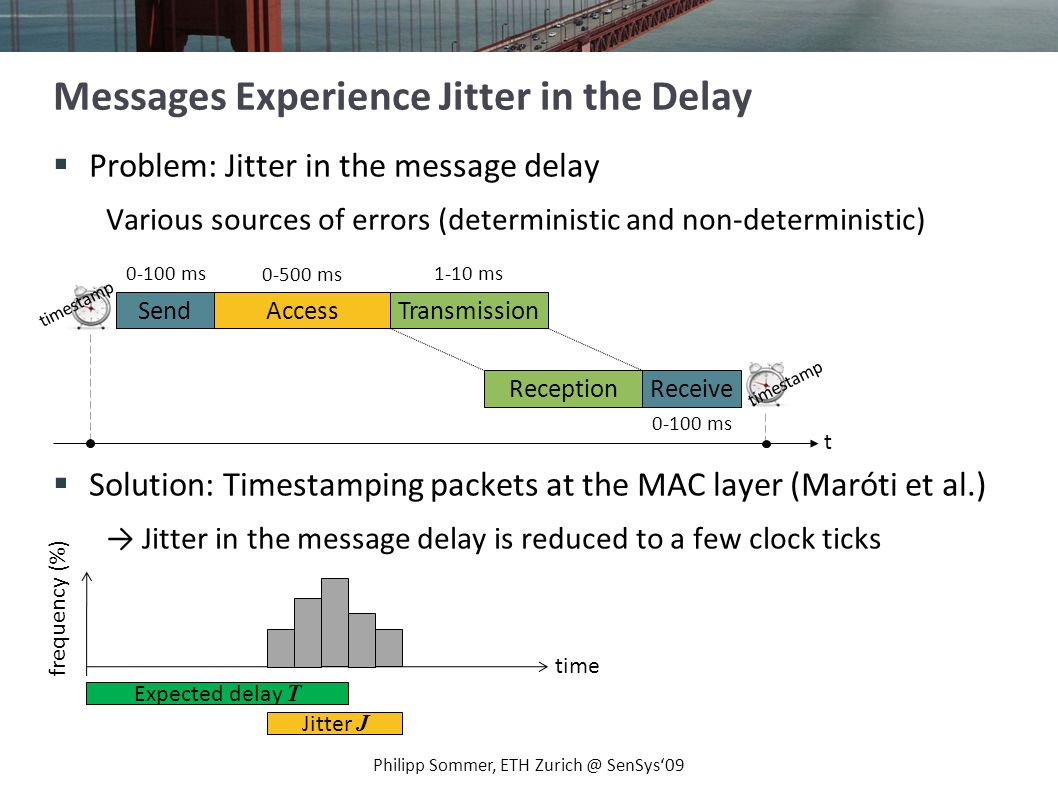 Goal: Send time information (beacons) to synchronize clocks Problems: Hardware clocks exhibit drift Jitter in the message delay Philipp Sommer, ETH Zurich @ SenSys09 Summary: Clock Synchronization Expected delay T Jitter J