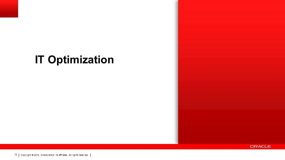 Copyright © 2013, Oracle and/or its affiliates. All rights reserved. 13 IT Optimization