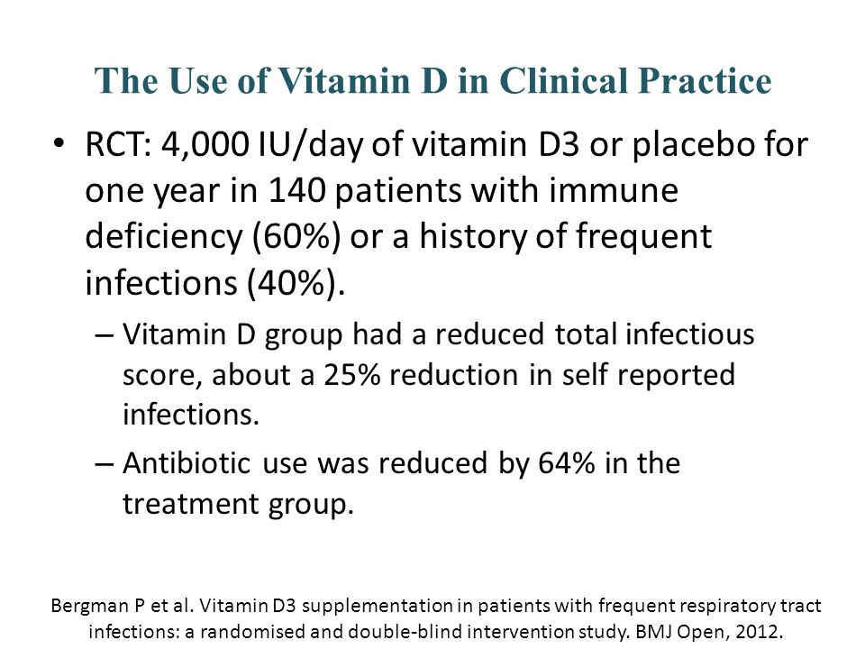 The Use of Vitamin D in Clinical Practice RCT: 4,000 IU/day of vitamin D3 or placebo for one year in 140 patients with immune deficiency (60%) or a hi
