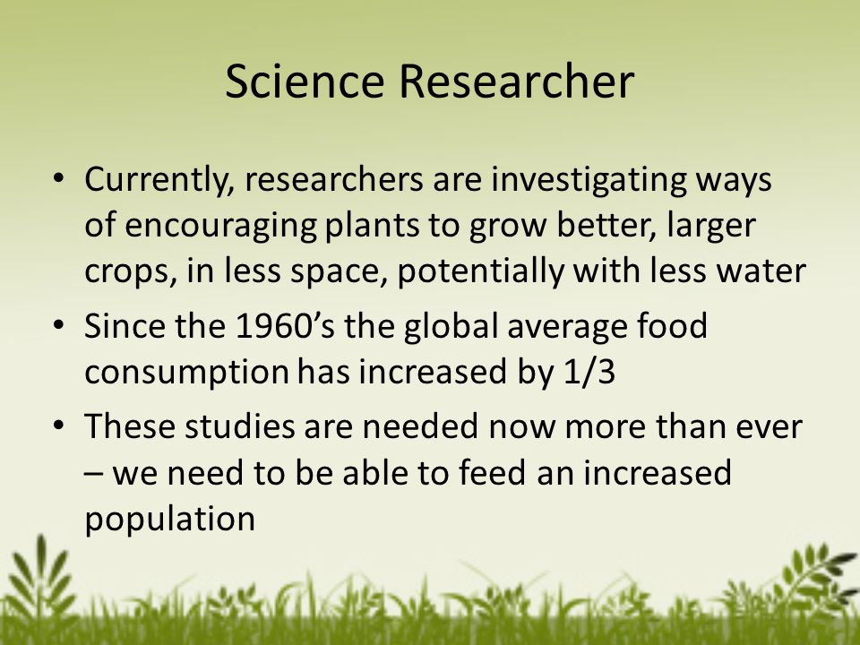 Science Researcher Currently, researchers are investigating ways of encouraging plants to grow better, larger crops, in less space, potentially with less water Since the 1960s the global average food consumption has increased by 1/3 These studies are needed now more than ever – we need to be able to feed an increased population