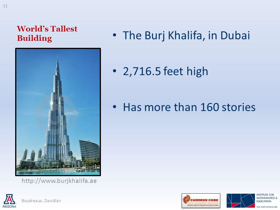 Worlds Tallest Building The Burj Khalifa, in Dubai 2,716.5 feet high Has more than 160 stories 11 Boudreaux, Davidian http://www.burjkhalifa.ae