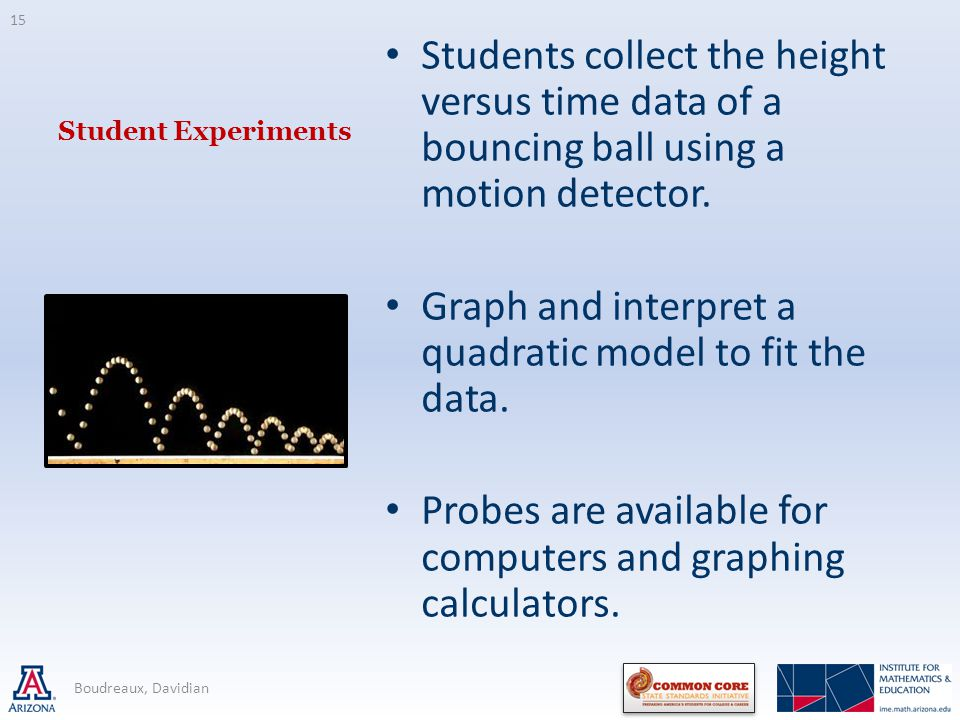 Student Experiments Students collect the height versus time data of a bouncing ball using a motion detector.