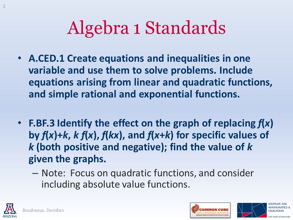 Algebra 1 Standards A.CED.1 Create equations and inequalities in one variable and use them to solve problems.