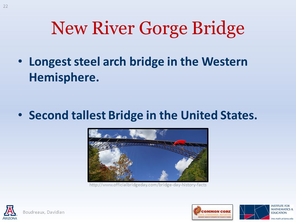 New River Gorge Bridge Longest steel arch bridge in the Western Hemisphere. Second tallest Bridge in the United States. Boudreaux, Davidian http://www
