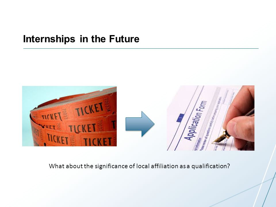 Internships in the Future What about the significance of local affiliation as a qualification?