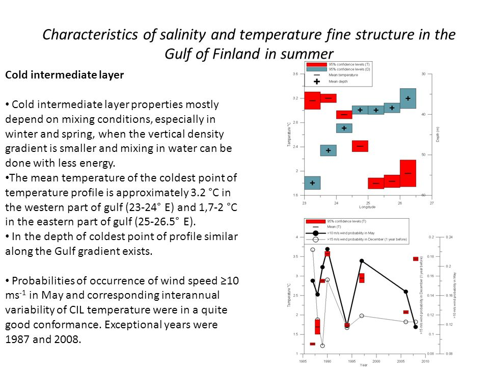 Characteristics of salinity and temperature fine structure in the Gulf of Finland in summer Cold intermediate layer Cold intermediate layer properties mostly depend on mixing conditions, especially in winter and spring, when the vertical density gradient is smaller and mixing in water can be done with less energy.