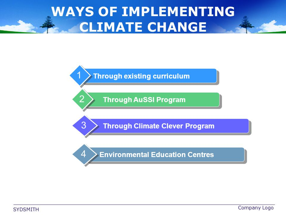 Company Logo WAYS OF IMPLEMENTING CLIMATE CHANGE Through existing curriculum 1 Through AuSSI Program 2 Through Climate Clever Program 3 Environmental
