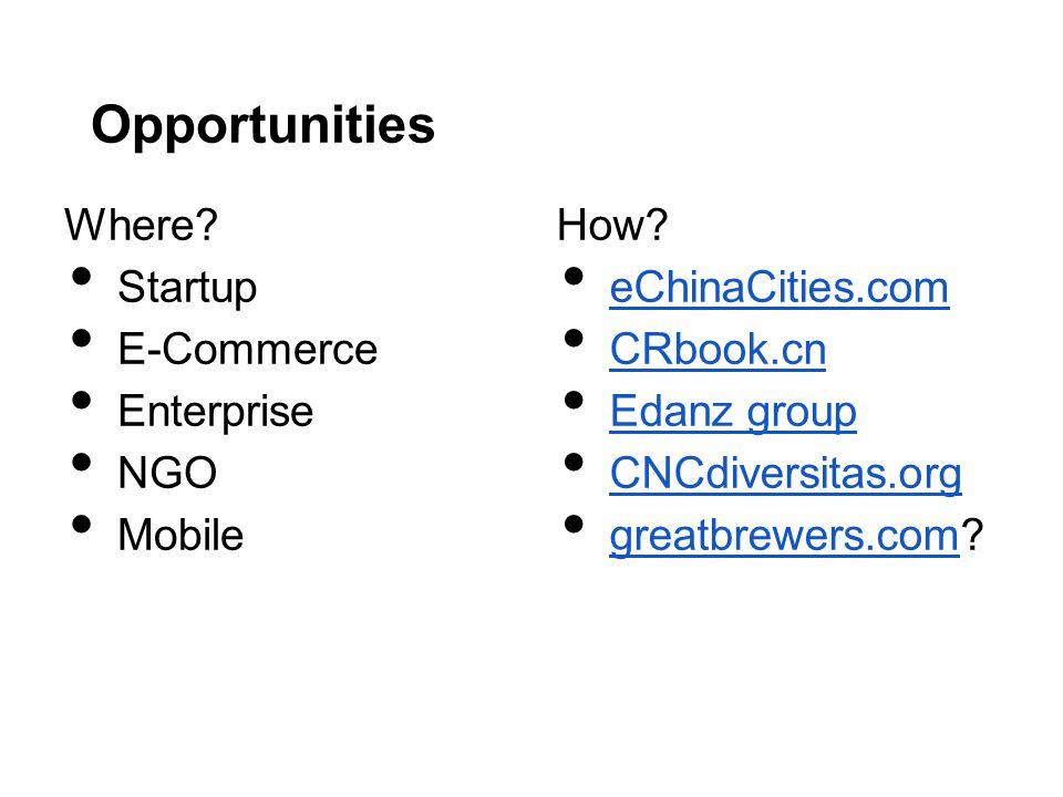 Opportunities Where? Startup E-Commerce Enterprise NGO Mobile How? eChinaCities.com CRbook.cn Edanz group CNCdiversitas.org greatbrewers.com? greatbre