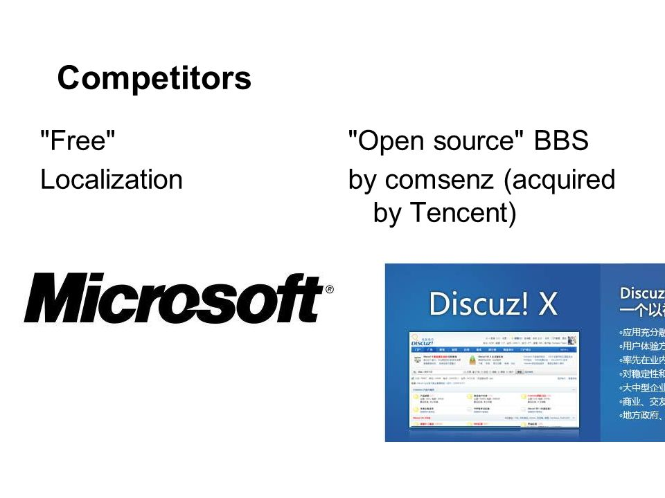 Competitors Free Localization Open source BBS by comsenz (acquired by Tencent)