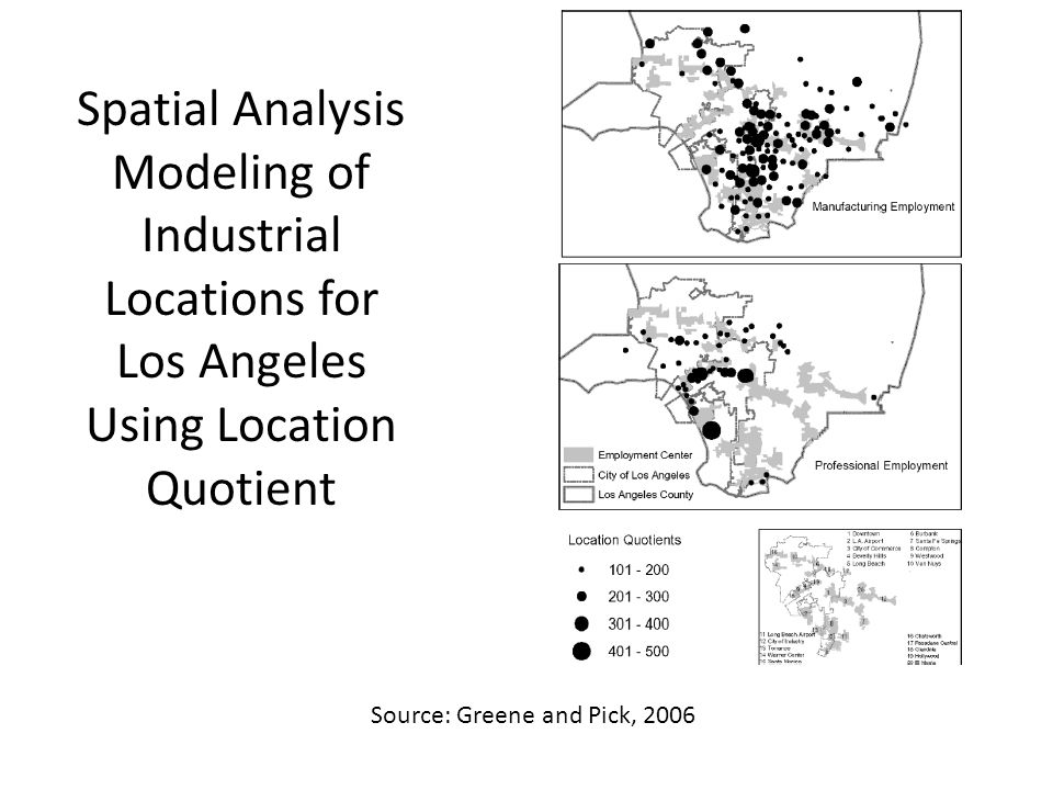 Spatial Analysis Modeling of Industrial Locations for Los Angeles Using Location Quotient Source: Greene and Pick, 2006