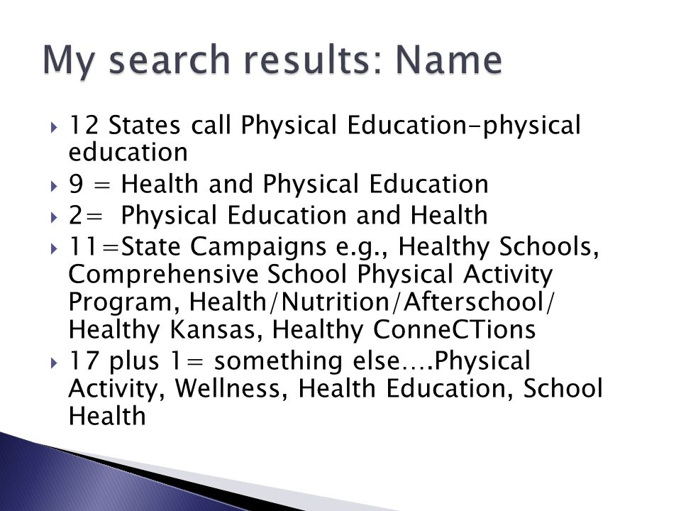 12 States call Physical Education-physical education 9 = Health and Physical Education 2= Physical Education and Health 11=State Campaigns e.g., Healt