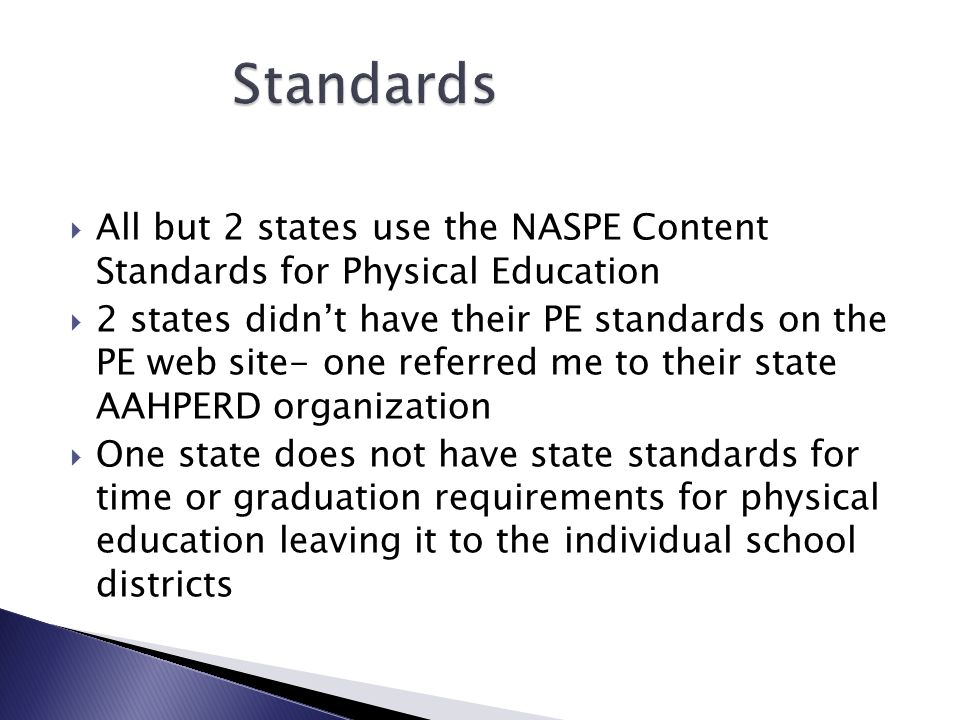 All but 2 states use the NASPE Content Standards for Physical Education 2 states didnt have their PE standards on the PE web site- one referred me to their state AAHPERD organization One state does not have state standards for time or graduation requirements for physical education leaving it to the individual school districts