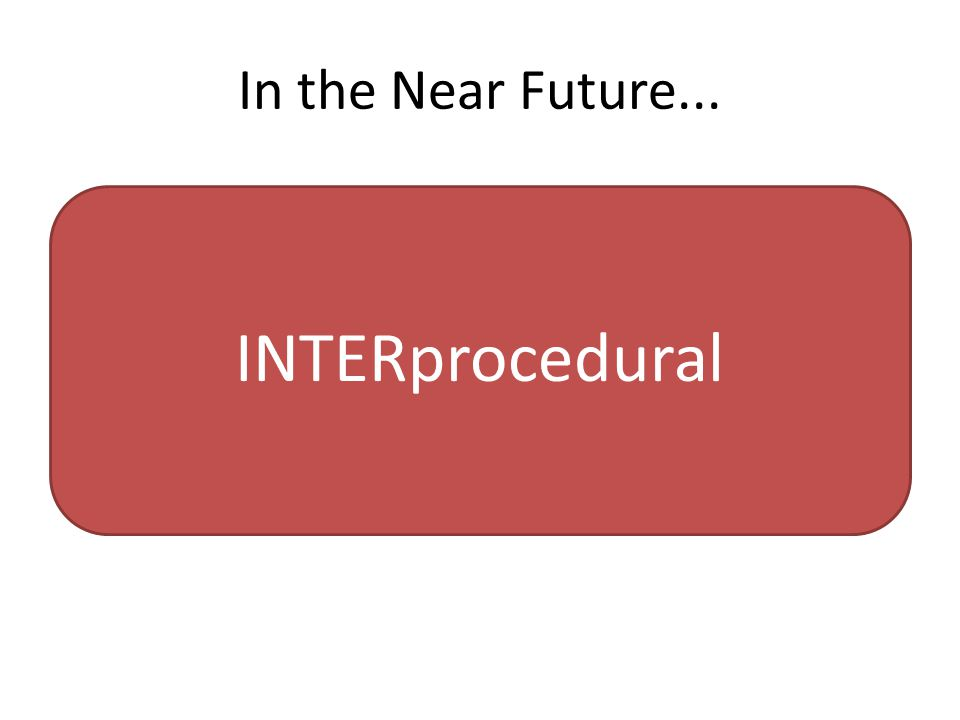 In the Near Future... INTERprocedural