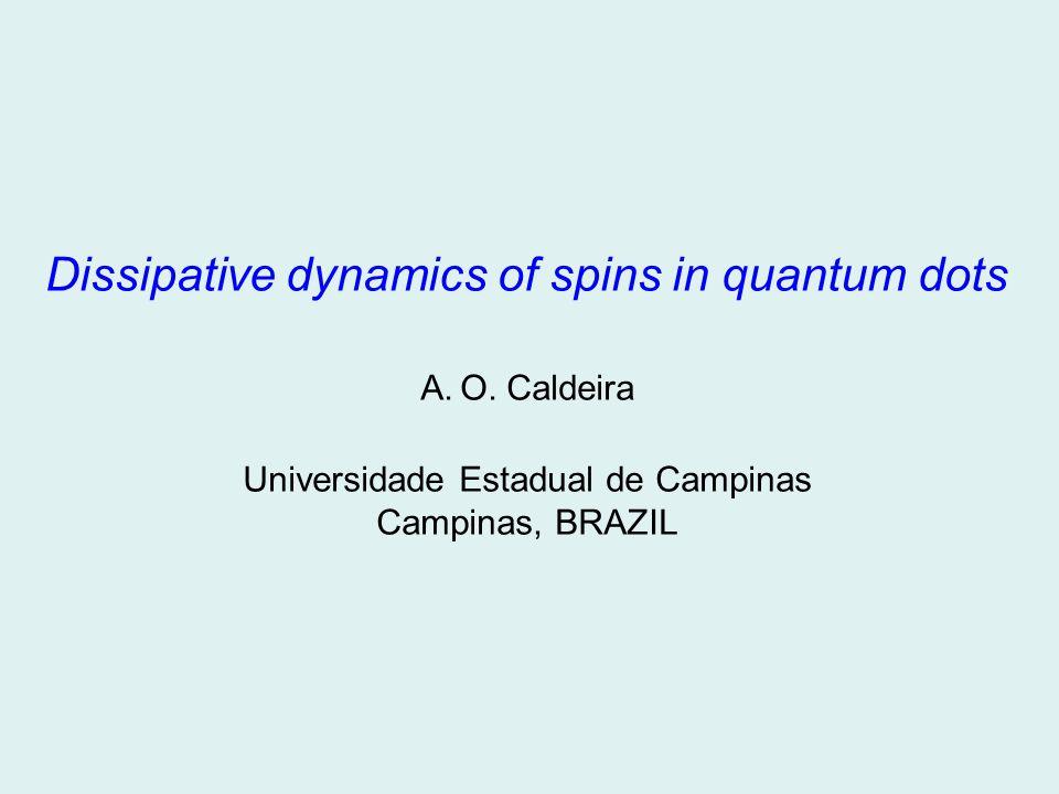 Dissipative dynamics of spins in quantum dots A.O. Caldeira Universidade Estadual de Campinas Campinas, BRAZIL